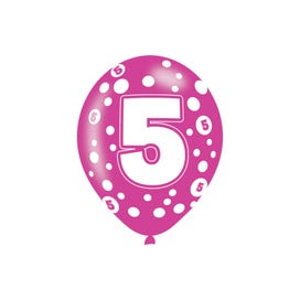 5th Birthday Assorted Colours Latex Balloons - 6 Pack