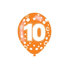 10th Birthday Assorted Colours Latex Balloons 6 Pack