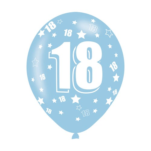 Birthday Age 18 Assorted Colours Latex Balloon 6 Pack