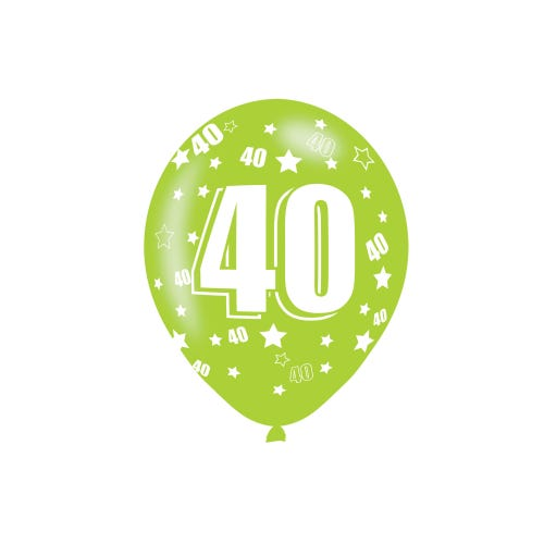 40th Birthday Assorted Colours Latex Balloons 6 Pack