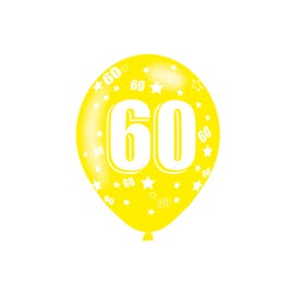 60th Birthday Assorted Colours Latex Balloons 6 Pack