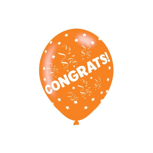Congratulations Assorted Colours Latex Balloon 6 Pack