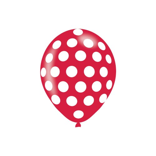Polka Dot Assorted Colours Latex Balloons - 6 Pack