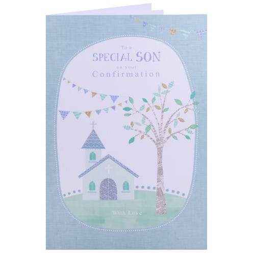 Special Son Confirmation card- Church & Bunting