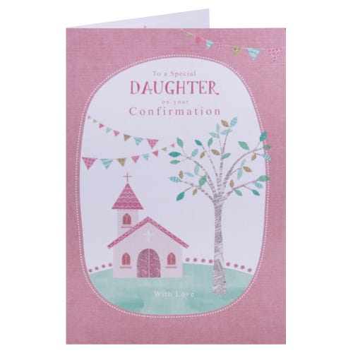 Special Daughter Confirmation card- Church & Bunting