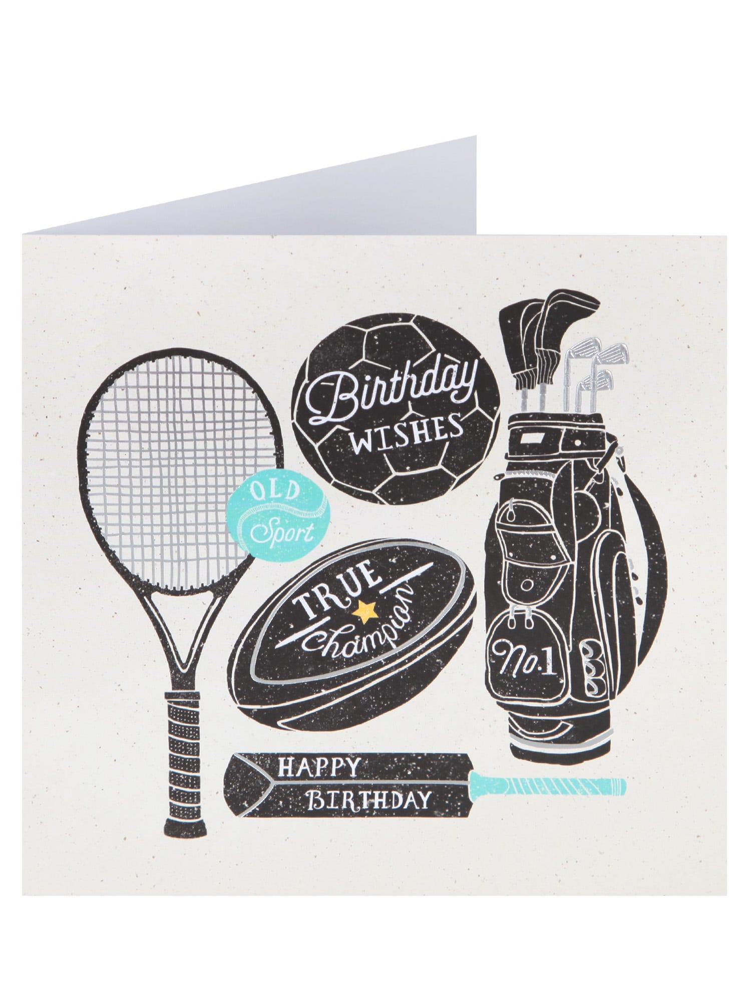 Sports Theme Birthday Card <p>An ideal card for a sport fan, this birthday card features sports equipment in black with white and metallic detailing.</p>