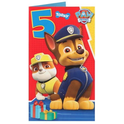 Paw Patrol 5 Today Birthday Card