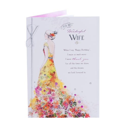 Floral Dress Wonderful Wife Birthday Card
