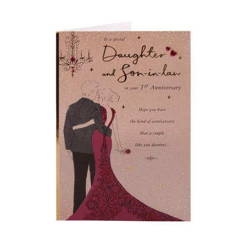 Arm In Arm Daughter & Son In Law 1st Anniversary Clintons Collection Card