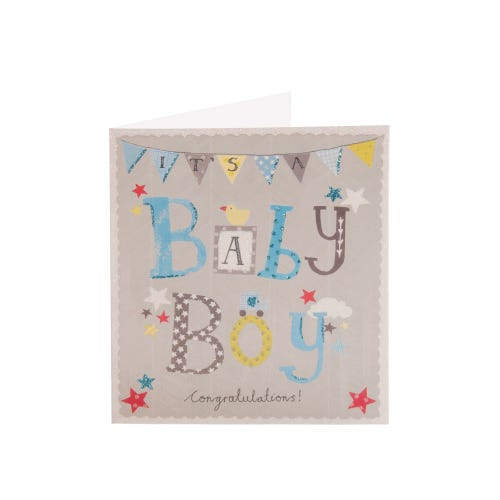 Simply Congratulations Baby Boy Card