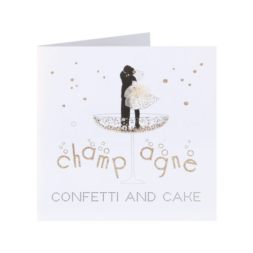Champagne, Confetti And Cake Blank Wedding Day Card