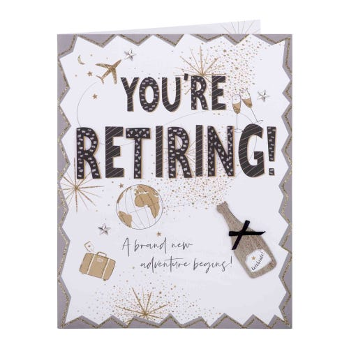 Gold Glitter Large Retirement Card
