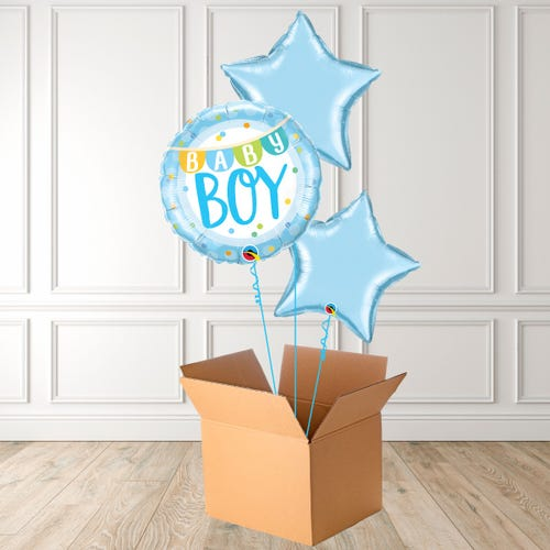 Baby Boy Banner & Dots Foil Bouquet