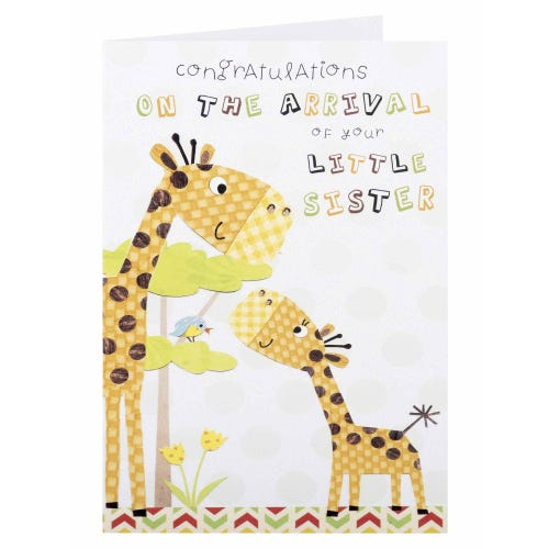 Girraffes Congratulations on the Arrival of Your Little Sister Card