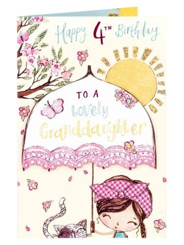 All Things Sweet Granddaughter 4th Birthday Card