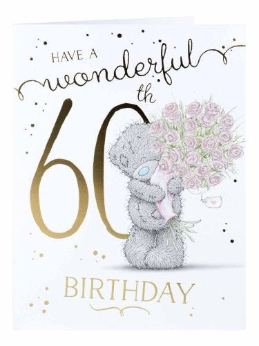 Me to You Bouqet Of Pink Roses 60th Birthday Cards