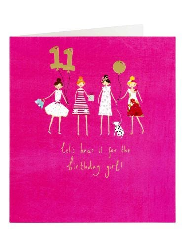 11th Birthday Lets Hear It for The Girl  Card