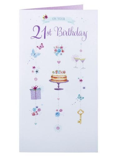 Cake And Gifts 21st Birthday Card