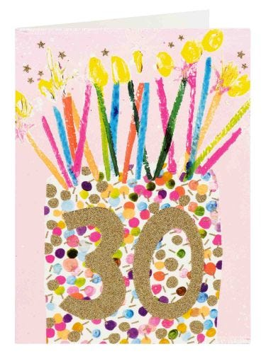 Paper Salad 30th Candles Glitter Effect Birthday Card