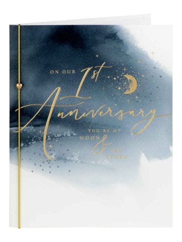 Moon & Stars On Our 1st Anniversary Card