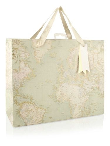 Map Design With Gold Effect Large Gift Bag