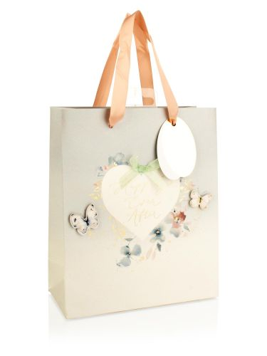 Happily Ever After 3D Butterfly Design Medium Wedding Gift Bag