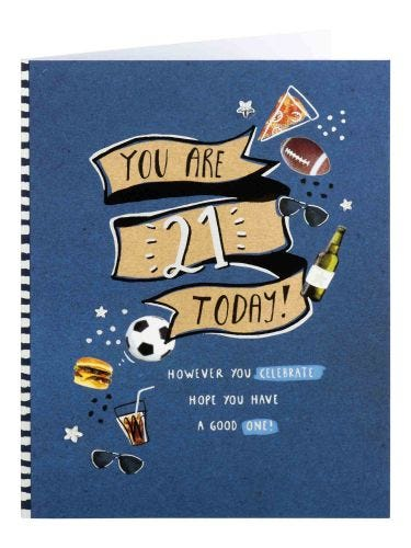 Pizza And Beer 21st Birthday Card