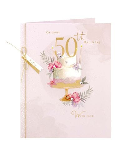 Floral & Fern With Gold Effect Cake 50th Birthday Card