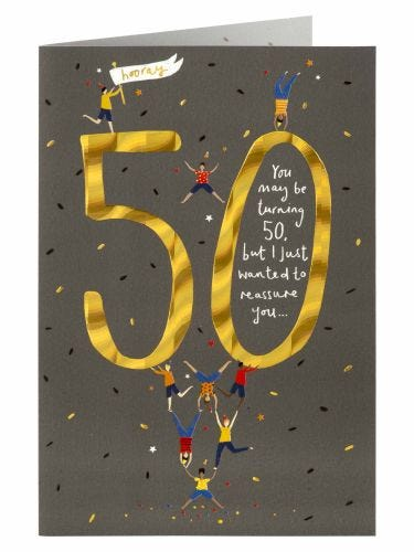 Tiny Stack Of People 50th Birthday Card