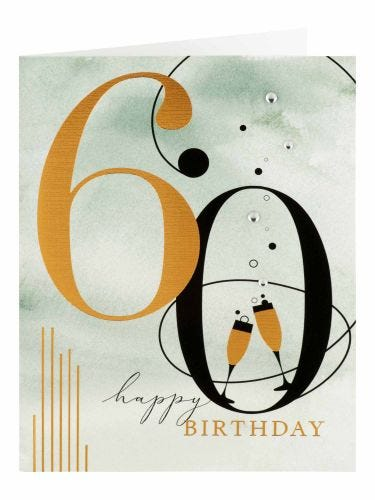 Gold Foil Champagne Flutes 60th Birthday Card
