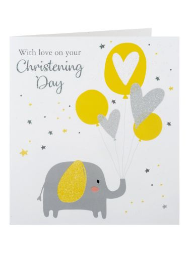 Elephant Holding Balloons Christening Day Card