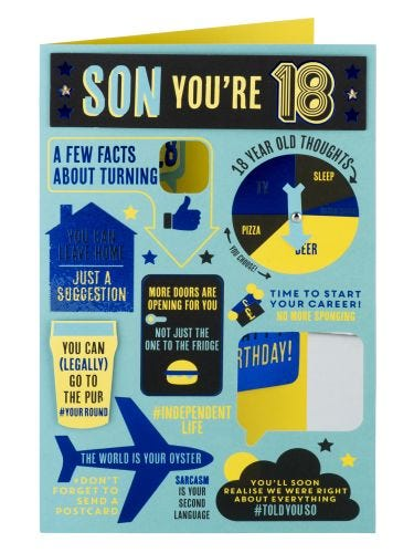 Fun Facts About Turning 18 Birthday Card