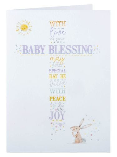 Rabbit And Sun Baby Blessing Card