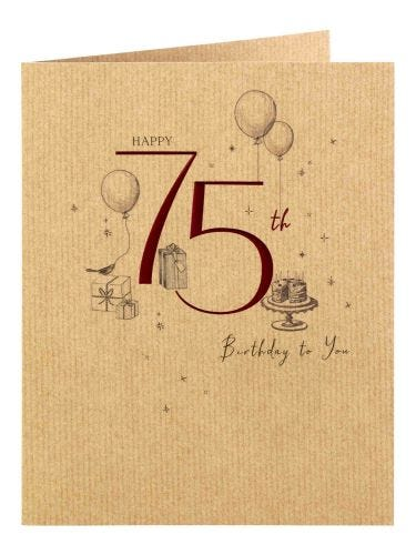 Cakes And Gifts 75th Birthday Card