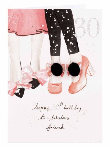 Dancing Shoes With Pom Poms Friend 30th Birthday Card