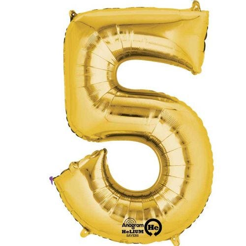 """16"""" Airfilled Number Gold 5 Balloon"""