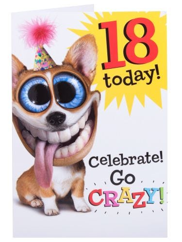 Dog With Over Sized Head And Eyes 18th Happy Birthday Card