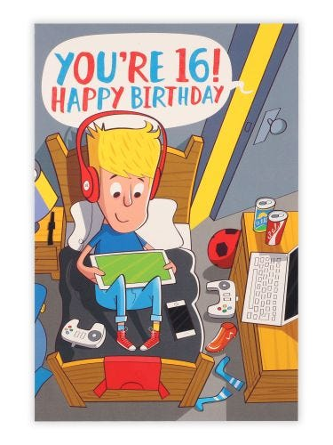 Giggles You're 16! Birthday Card