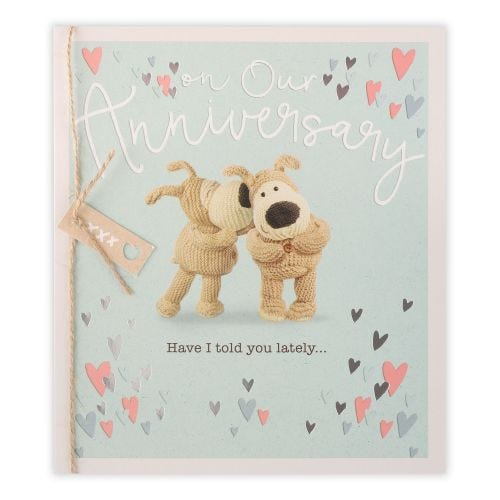 Boofle stood Whispering To Another Boofle Anniversary Card