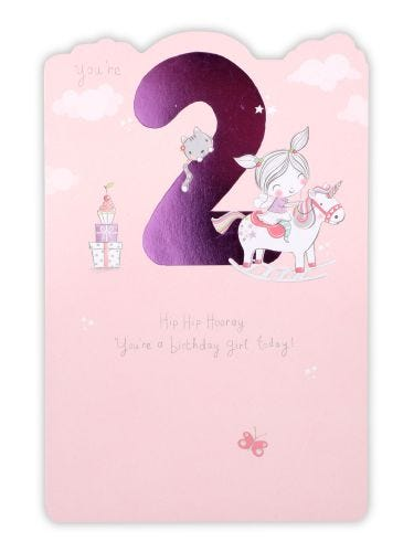 Girl With Pigtails On Unicorn Age 2 Birthday Card