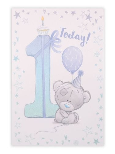1st Bear With Party Hat Blue Birthday Card