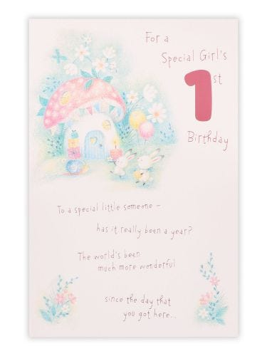 Juvenile Girl 1st Toadstool With Rabbits Birthday Card