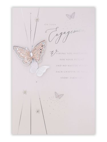 Butterflies With Flowers Engagement Card