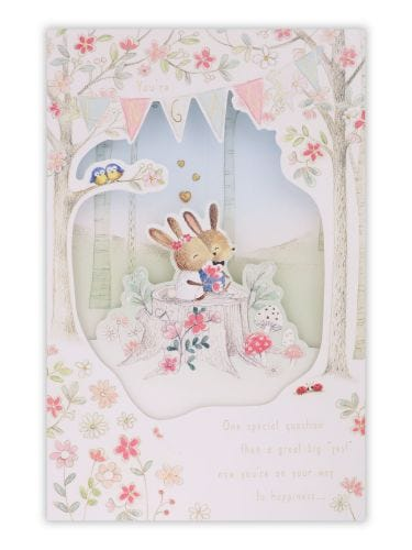 Bunnies In Forest Engagement Card