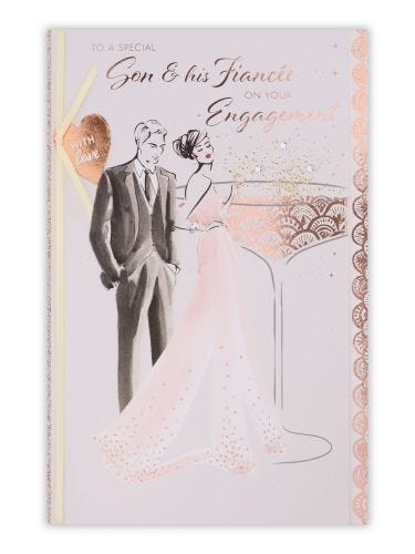 Figurative Couple With Glass Engagement Son & Daughter In Law Card