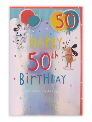 50th Birthday Dogs Holding Balloons Card