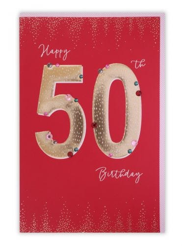 50th Birthday Gold Text On Red Card