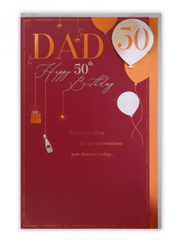 Dad 50th Birthday Icons On Red Card