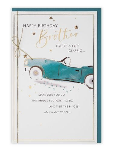 Brother Teal Convertible Car Birthday Card