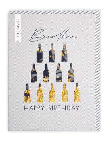 Brother Beer Bottle Birthday Card